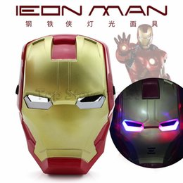 toy irons Coupons - Avengers LED Flash Glowing Masks Super Hero Captain America Spiderman Iron Man Lighting Mask Kids Halloween Cartoon Party Mask