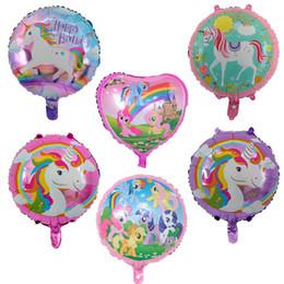 Gags infláveis on-line-18 '' Unicorn Balões de Alumínio inflável Revestimento 45 CM Little Horse aniversário Ballons Decorações Do Partido Do Chuveiro Do Bebê de Casamento Novidade Mordaça Presentes