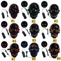 Cráneo resplandor online-Máscara de Halloween Máscara LED de purga Light Up Scary Máscaras del resplandor del cráneo por Máscaras los hijos adultos de Halloween del partido del delirio de 10 colores ZZA1181