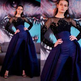 nancy ajram vestidos Desconto 2020 Moda Mulheres Jumpsuit treinar com destacável sem alças de cetim Vestidos de noite com Jacket Lace Beading Prom Dress desgaste do partido