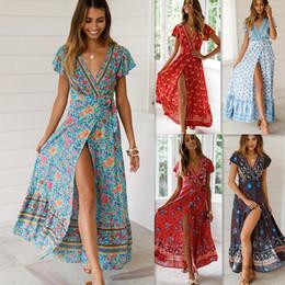 85b0c55a37d Женская одежда больших размеров Женская летняя цветочная печать с коротким  рукавом Boho Beach Evening Party женские платья Платье с v-образным вырезом  ...