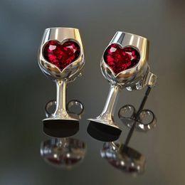 Boucles d'oreilles à vin en Ligne-1 paire de verres à vin en acier inoxydable boucles d'oreille pour les femmes hommes punk charme de bijoux cadeau