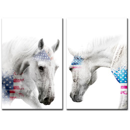 framed horse prints Promo Codes - Amosi Art Animal Canvas Painting White Horse American Flag Background Pictures Prints Wall Art Modern for Living Room Decor Stretched Framed