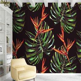 Grandes murais de parede florais on-line-Papel de parede personalizado grande parede murais de parede adesivos aquarela Nordic mão plantas pintadas floral