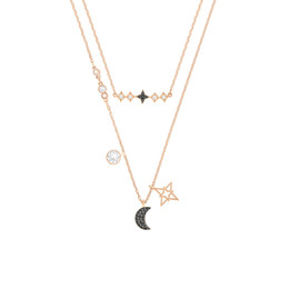 2019 diadema de plástico para niñas grandes accesorios para el cabello Diseñador de la joyería de lujo collares de SWAROVSKI elegante Estrellas de la luna collar de la mujer refinada de alta Edition heló hacia fuera Cadenas con la caja