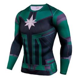 camisa super herói feminino Desconto Chegada nova Homens / Mulheres camisa de compressão 3D Impressão T-Shirt Filme Capitão Marvel Superhero manga comprida t shirt homens ginásio clothing