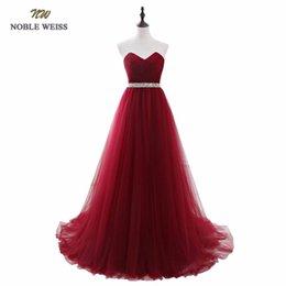 2019 red de vestidos NOBLE WEISS Vestidos de noche de color rojo oscuro Vestido de fiesta de graduación con espalda plisada neta por encargo Vestido de fiesta con tren de corte red de vestidos baratos