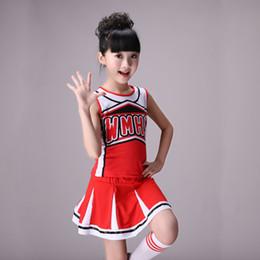 2019 materiali all'ingrosso portachiavi ragazze senza maniche ragazze costume di ballo cheerleader costume costumi di danza moderna per bambini manica lunga cheerleader costume ragazzi girs
