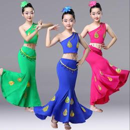 paon élasthanne Promotion 2019 enfants vêtements de danse Dai jupe élastique costumes de danse paon costumes de costumes folkloriques chinois pour enfants