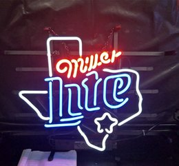 neon beer signs Coupons - Miller Lite Beer Led Glass Tube Neon Signs Lamp Lights Hotel Advertising Display Bar Home Decoration Sign Metal Frame 17'' 20'' 24'' 30''
