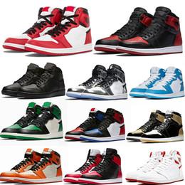 Jeux d'argile en Ligne-2019 Best Nike Air Jordan 1 AJ I High OG Jeu Royal interdit Shadow Bred Toe Chaussures de basketball Top qualité argile verte Baskets 1S Sneakers EUR 40-47