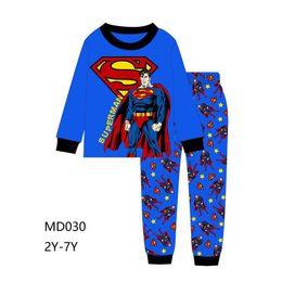 Pijamas azules online-Venta al por mayor Boys Blue pijamas establece 2019 niños de dibujos animados pijamas niños primavera pijamas conjuntos para 2-7Y MD-030