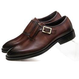 2019 коричневые туфли для жениха CLORISRUO коричневый загар / черный Goodyear Welt мальчики выпускного вечера платье обувь из натуральной кожи монах ремни бизнес обувь мужской жених дешево коричневые туфли для жениха