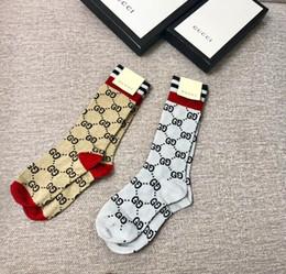 Línea muestra online-Multicolor Nueva G letra línea de oro de impresión de moda desfile femenino delgado calcetines hasta la rodilla medias de algodón calcetines de punto