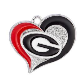 Nuovi arrivi NCAA Georgia Bulldogs Team logo Ciondola il pendente Cuori fai-da-te Gioielli sportivi per collana da