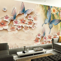 sfondi rosa farfalla Sconti Carta da parati Carta da parati personalizzata per pareti 3 D Carta da parati in stereoscopico con fiore in rilievo di colore europeo stile europeo