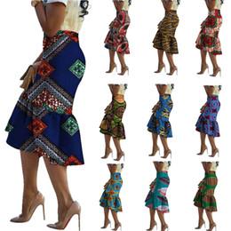 2019 ropa tradicional africana Mujeres África Ropa de tela de cera Moda Africana Dashiki Imprimir Bodycon Faldas Lápiz Ropa Tradicional Más Tamaño XS-6XL ropa tradicional africana baratos