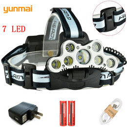 2019 7 led headlight Yunmai USB Wiederaufladbare 7 LED Scheinwerfer 5T6 + 2XPE Super Power Micro Scheinwerfer Licht 6 Modi 20000LM Kopf Laterne Angeln LED Lampe rabatt 7 led headlight
