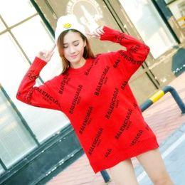 de6b0a0292e4 letra de suéter de punto Rebajas Harajuku de punto suéter de las mujeres  otoño invierno 2018