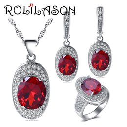 precious jade pendant Coupons - jewelry sets ROLILASON Precious Red Zircon For Ladies silver Earrings Necklace pendant Rings Jewelry Sets USA size #6#7#8#9#10 JS712