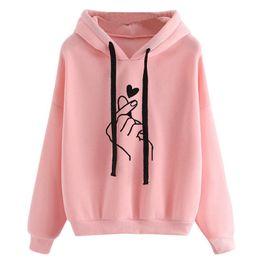 2019 hoodie do coração das mulheres Amor Coração Impressão Outono Hoodies Moletons para As Mulheres Da Moda Coração Dedo Com Capuz Cordão de Manga Comprida Hoodies Treino hoodie do coração das mulheres barato
