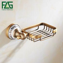 Piatti di sapone antichi online-FLG antico cestino del sapone a parete di alluminio dello spazio Portasapone Soap Box accessori per il bagno