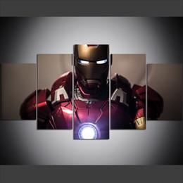 2019 eisen mann cartoon bilder 5 Stück Große Größe Leinwand Wandkunst Bilder Kreative Tony Iron Man Kunstdruck Ölgemälde für Wohnzimmer günstig eisen mann cartoon bilder