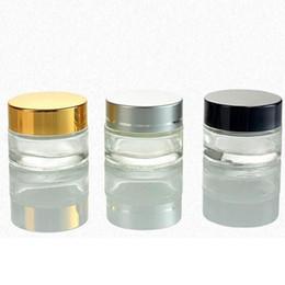 Schwarze kosmetikgläser online-30g 50g 5g 10g Kosmetik Leeren Glas-Topf Lidschatten Make-up Gesichtscreme Container Flasche mit Schwarz-Silber-Gold Verpackung Flaschen