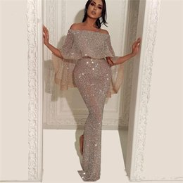 sexy backless club shirt Promo Codes - 2019 Reflective Sequins Mermaid Evening Dresses Split Floor Length Bateau Neck Cap Sleeves Formal Party Prom Dresses