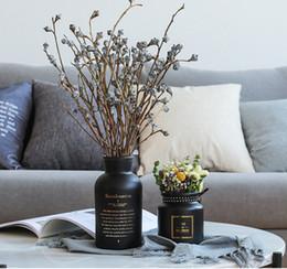 2019 jarrones decorativos de cristal Florero de cristal jarrón decoración de escritorio jarrones de color negro blanco florero macetas decorativas mesa de café florero rebajas jarrones decorativos de cristal