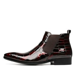 Fashion Black Wine Red Crocodile Grain Mens Dress Boots Patent Leather Wedding Shoes Male Ankle Boots