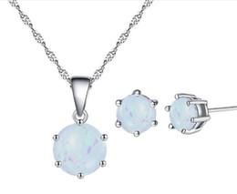 Conjuntos de boda de ópalo online-Colgante de ópalo Collar y aretes Conjuntos de joyas de diamantes de imitación earstud y collar para joyería de la boda mejores regalos