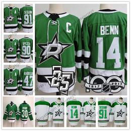 2019 Dallas Stars Jerseys # 14 Jamie Benn 91 Tyler Seguin 47 Alexander Radulov 90 Jason Spezza Hockey verde blanco Hombres 100th 25th Patch desde fabricantes