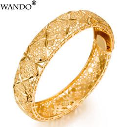 joyas 24k oro dubai Rebajas WANDO Luxury 24k Gold Color Ethiopian Jewelry Bangles para mujer Dubai Ramadan BanglesBracelet African / Arab Weeding Jewelry Gift