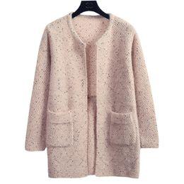 Suéter de invierno suelto coreano online-Suéter Mujer Abrigo de punto de lana de punto Nuevo Otoño Invierno Fixture Color Coreano Femenino Suelto Jumper Ropa Vestidos LXJ319