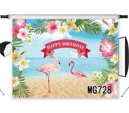 fondo de estudio de playa Rebajas LB Poliéster Vinilo Playa Flores Flamencos Feliz cumpleaños Fotografía Telón de fondo para estudio Foto Niño Fondo fotográfico
