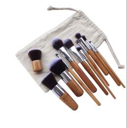 наборы инструментов для волокон Скидка Кисти для макияжа Make up Wooden Bamboo 11шт Профессиональный набор косметических кисточек Волокна для волос с шнурком для рисования Стрела Тени для век