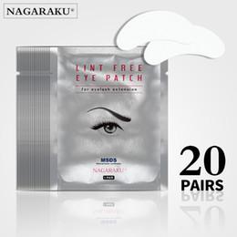 extensions de cils Promotion NAGARAKU Hot Sale 20 paires / set de tampons pour les yeux en soie, sous le cache-œil, non pelucheux sous les patchs de gel pour les yeux pour l'extension des cils