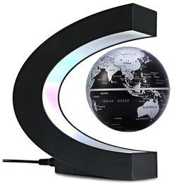 globo mundo flutuante Desconto Levitação Magnética em Forma de C Flutuante Globo Mapa do Mundo com Decoração de Luz LED para Home Office - Preto