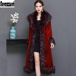 зима зимой плюс размер Скидка Nerazzurri Luxury подиумная куртка женская 2019 г. зима красный пушистый шуба из искусственного меха женская с лисьим меховым воротником плюс размер пальто 5xl 6xl 7xl