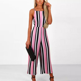30c9ffa3669 Women Sleeveless Striped Jumpsuit Casual Clubwear Wide Leg Pants Outfit For  2019 Spring Summer rompers womens jumpsuit