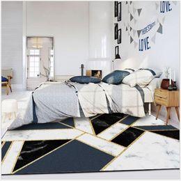 2019 quarto de ouro branco preto AOVOLL metal geométrica azul Ins Black White Marble Faixa de ouro Quarto Sala Pavimento Mat Tapete Quarto Área Rugs desconto quarto de ouro branco preto