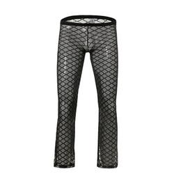 gli uomini sexy del pigiama sexy Sconti Fashion Grid Fishnet Men Sexy Vedere attraverso Lounge Pants Gay Maschio Divertente Sheer Long Pajama Bottoms Confortevole sonno Bottoms