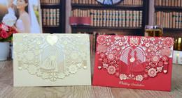 Tarjetas de visita de la invitación de la boda online-2019 estilo de la UE de corte por láser de encaje blanco oro rojo Best Selling Wedding Invitations Cards Business Party Invitaciones Tarjetas Muestras