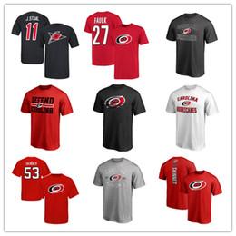 Ventilador ventilador rojo online-Camiseta de marca Carolina Hurricanes para hombre Fans Top Tees Camisetas deportivas 18 19 camisetas de hockey frescas Negro Rojo Gris Envío gratuito impreso Logos
