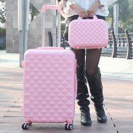 Sacos de casamento on-line-Atacado! 14 24 polegadas abs pc vermelho saco de bagagem do trole do casamento caixa de imagem feminino rodas universais sacos de couro conjuntos