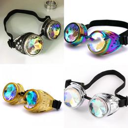 2019 gafas de gafas punk de vapor Moda Caleidoscopio Gafas Steam Punk Hombre y mujeres Deslumbrantes Gafas de color Calle creativa Tendencia Fiesta Cosplay Gafas 25wg WW gafas de gafas punk de vapor baratos