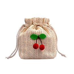 2019 bolso de paja de playa con cordón Summer Beach Small Mini Bucket bag Drawstring Women Straw Crossbody bag messenger handbag monederos tejido hombro bolso de paja de playa con cordón baratos