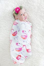 Couette coton enfants en Ligne-Enfants Aquarelle Flamingo Couverture Imprimer Bébé Sac Silkworm Cocoon Blanc De Bande Dessinée De Coton De Dessin Animé Bébé Porter Mince Section 24