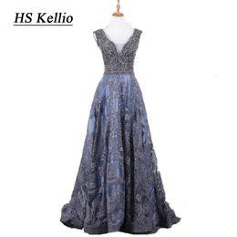 Deutschland HS Kellio Double Vneck Schöne Spitze Abendkleid Aline Marineblau Abendkleider Für Frauen cheap beautiful blue evening dress Versorgung